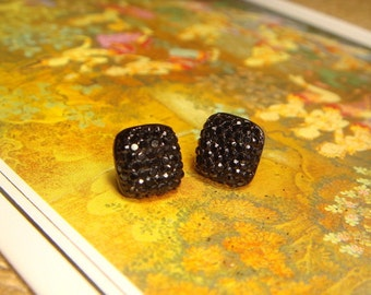 Glitter Series - Shiny Black Square Rhinestone Stud/Post Earrings (E217)