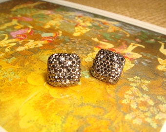 Glitter Series - Metallic Gray Square Rhinestone Stud/ Post Earrings (E199)