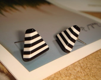 Triangle Black And White Stripe Stud/Post Earrings (E84)