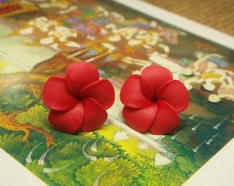 Sweet Red Plumeria Frangipani Stud/Post Earrings (E156)