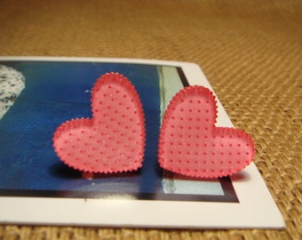 Glitter Polka Dot Salmon Pink Heart  Stud/Post Earrings (E446)