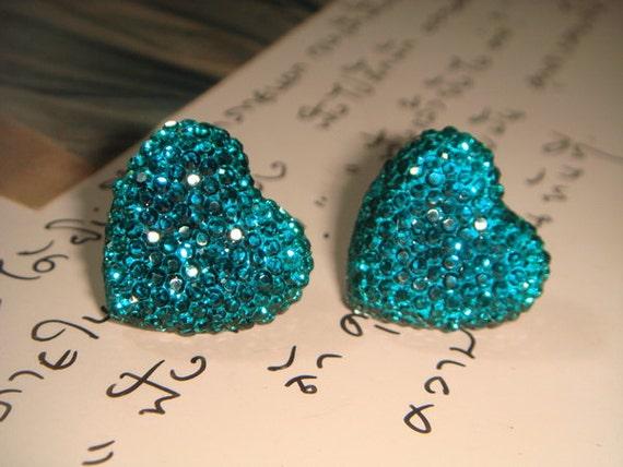 Glitter Series - Ocean Blue Heart Earrings (E172)