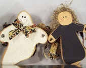 SALE - Witch and Ghost Wooden Decorations for Halloween - 2 Pieces