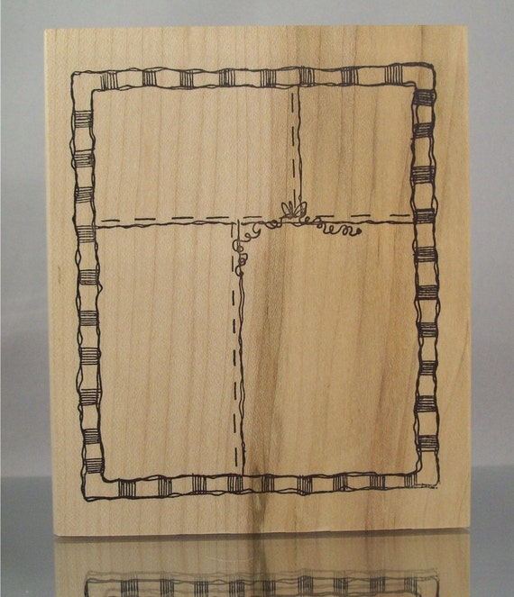 CLOSEOUT SALE Imaginations LARGE  J905 Checkered Border Frame Rubber Stamp