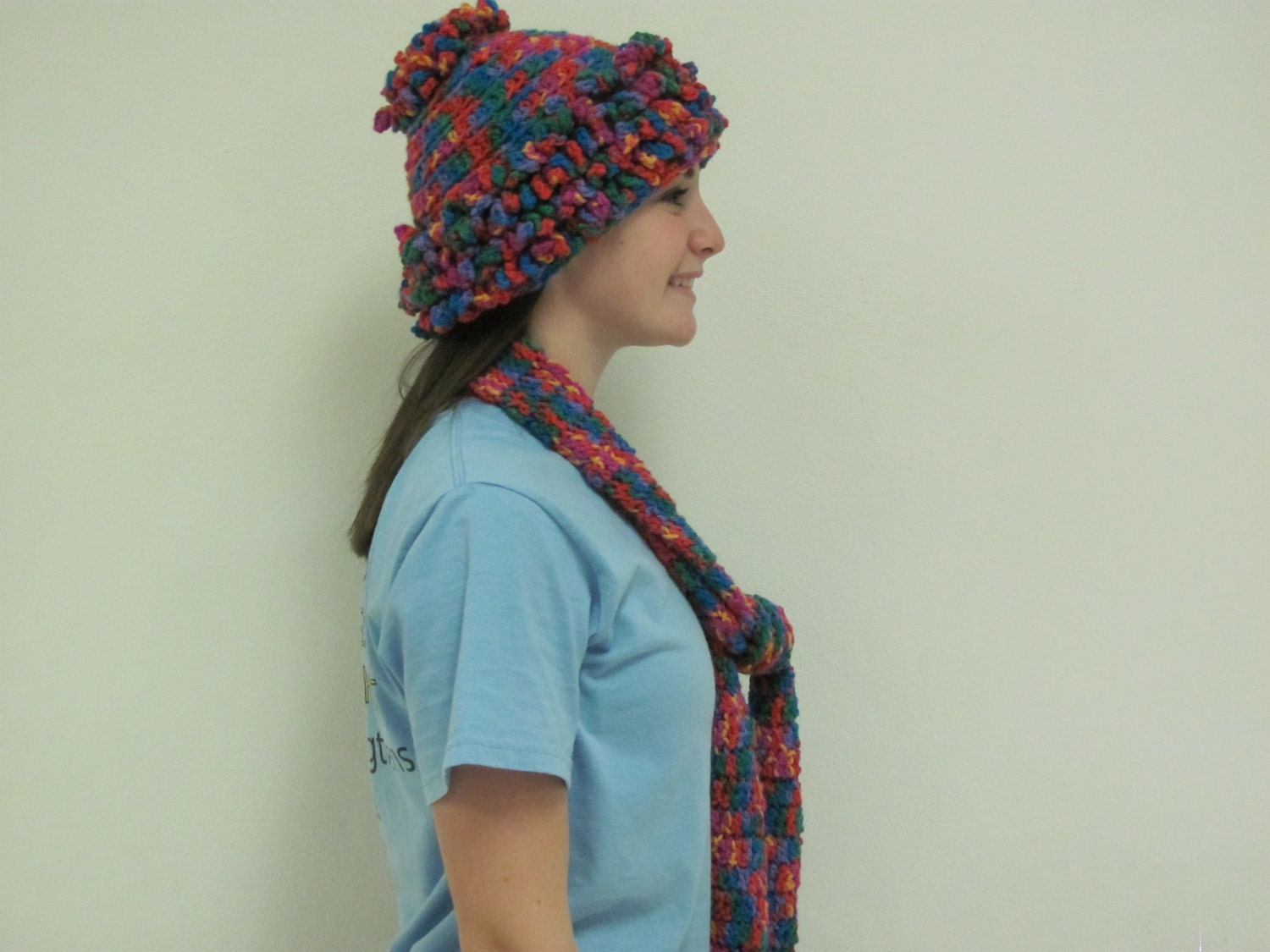 crocheted matching mult colored scarf and hat set