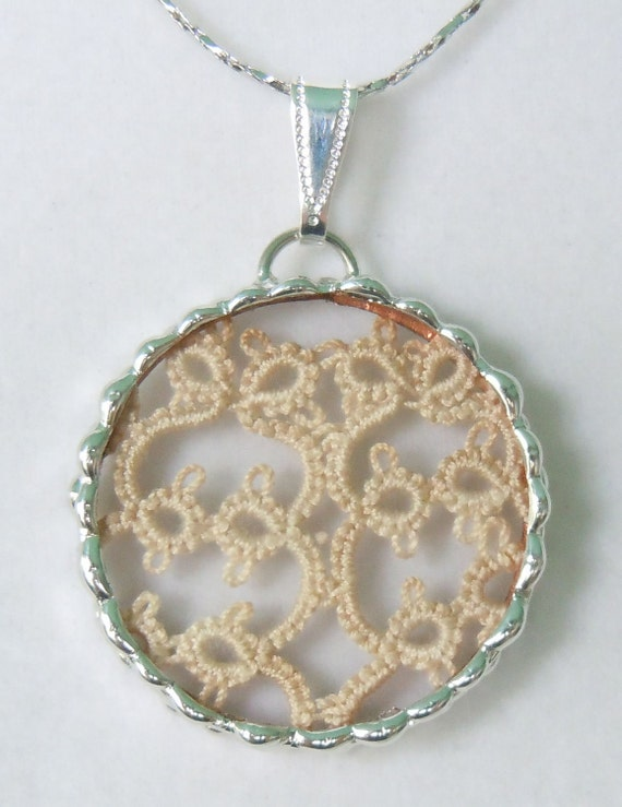 Fiona and The Fig  Antique Victorian  Tatted   Lace Charm Soldered Necklace Pendant Charm