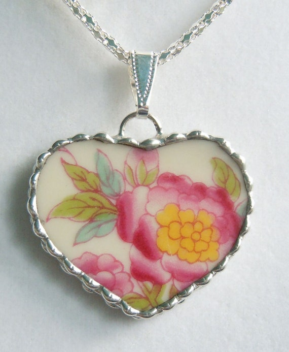 Fiona And The Fig Vintage Broken China Necklace Pendant Jewelry Charm  SUPER SALE  5.00
