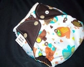 Mo Dia Diapers Retro Owls one-size pocket diaper with Hemp insert, FREE SHIPPING