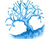 Family Tree of Life in blues - limited edition watercolour print