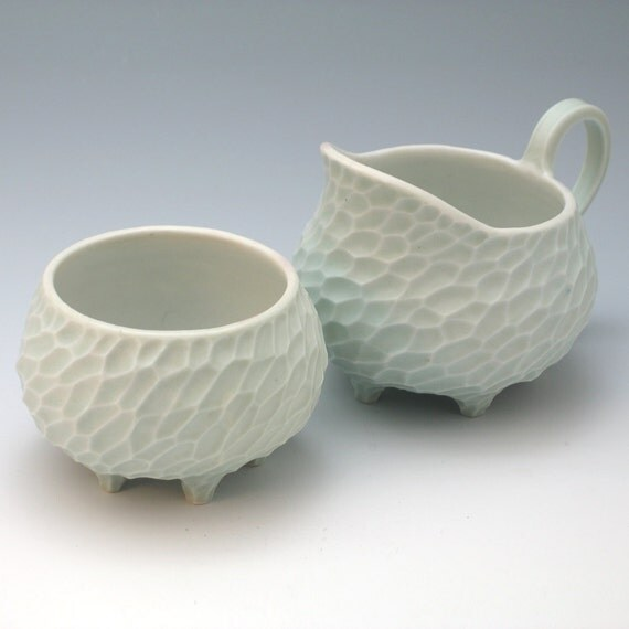 Porcelain creamer and sugar bowl set in aqua & white, made to order
