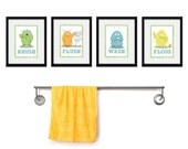 Kids Bathroom Art - Children's Wall Decor Monsters for the Bathroom - Kids Bathroom Decor art - Four 8 x 10  Bathroom Monster Child Prints