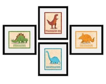 Dinosaur Nursery Art - Dinosaur Room Decor - Dinosaur Art - Set of 4 Dinosaur Art Prints - Baby Boy Dinosaur - Dinosaur Nursery