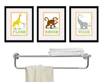 Jungle Bathroom Decor - Safari Bathroom Art - Three 8 x 10 Kids Bathroom Prints. Bathroom Rules - Wash, Brush, & Flush by KrankyKrab.