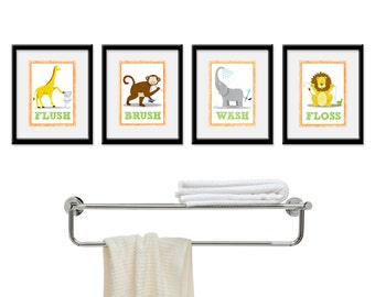 Kids Bathroom Wall Art - Four 8 x 10 Bathroom Jungle Safari Prints. Bathroom Rules -  Wash, Brush, Flush, & Floss, Children's Wall Decor