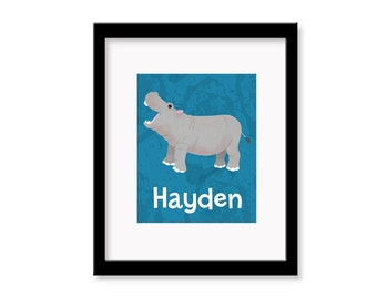Personalized Hippo Children's Room Decor Wall Art Print - 8 x 10 print