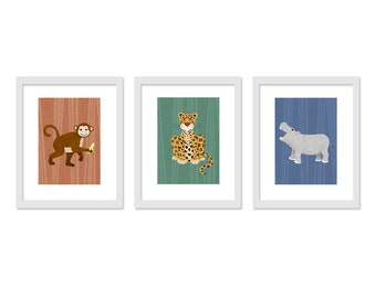 Children Animal Art - 3 print set - Jungle Safari Kids Wall Decor- Retro colors - 8 x 10  Prints