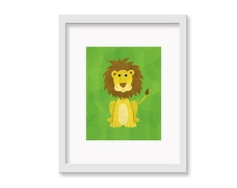 Safari Nusery Art - Lion Children's Room Decor Wall Art Print - 8 x 10 print