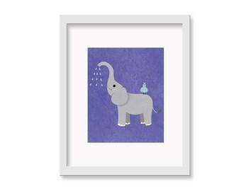 Safari Nusery Art - Elephant Children's Room Decor Wall Art Print - 8 x 10 print