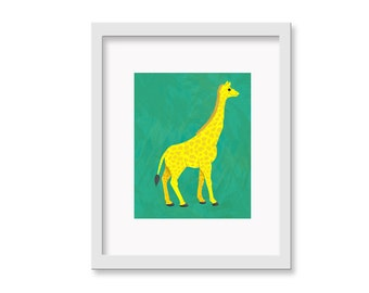 Safari Nusery Art - Giraffe Children's Room Decor Wall Art Print - 8 x 10 print
