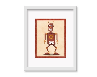 "Robot Print ""Rob"" - 11"" x 14"" Children's Decor Wall Art Print - Children's Retro Robot Theme Room Decor"