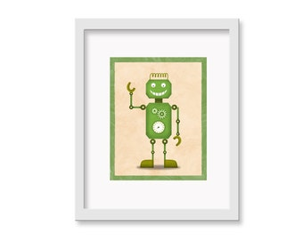"Robot Print ""Doug"" - 8"" x 10"" Children's Decor Wall Art Print - Children's Retro Robot Theme Room Decor"