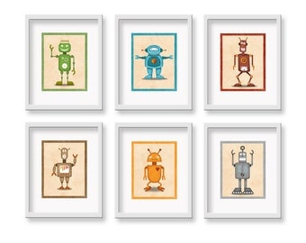 "Kids Robot Art Prints - 8"" x 10""- Set of 6 Robot Prints- Robot Wall Art for Kids Room- Kid Bedroom"