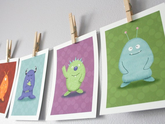 Monster Children's Wall Art Prints - Set of 3 Cute Monsters Children's Wall Decor (You Choose The Monsters) - 5 x 7 Prints