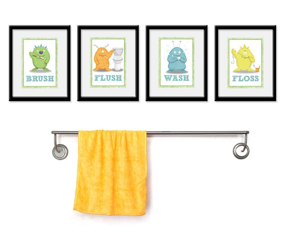 Kids bathroom art children 39 s wall decor monsters for the for Bathroom accessories kids