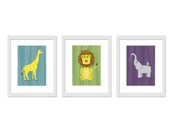 Jungle Safari Children Kids Nursery Room Wall Decor - Retro colors - Three 5 x 7 Archival Giclee Prints