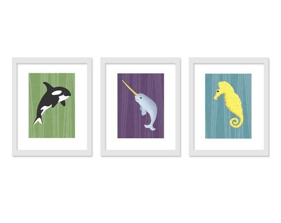 3 Piece Under the Sea Theme - Retro Colors - 5 x 7 Archival Giclee Prints, Children Decor, Children Wall Art, Nursery Art