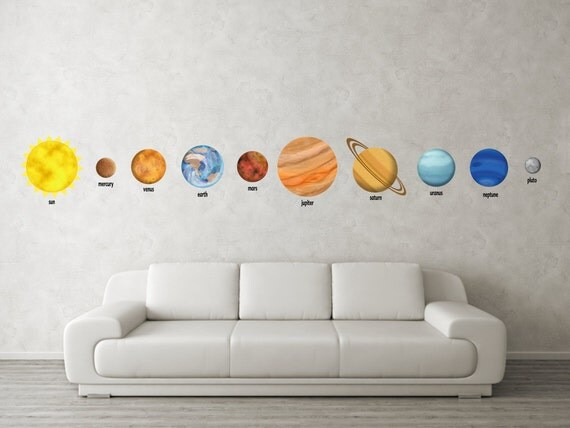 Planet Decals - Space Decor - 10 Piece Set Solar System Wall Decals  - Vinyl Childrens Wall Decor