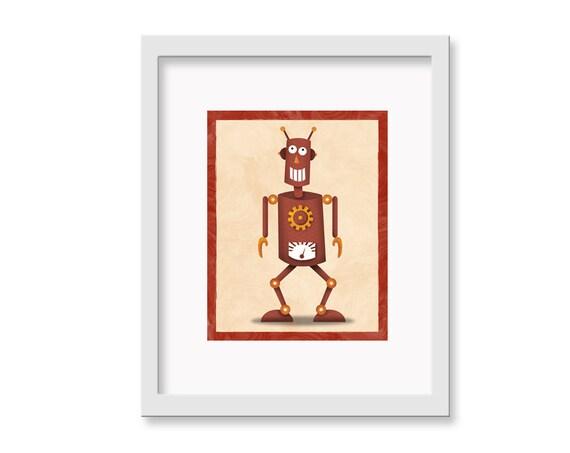 "Robot Print ""Rob"" - 11"" x 14"" Children's Decor Wall Art Print - Children's Retro Robot Theme Room Decor"