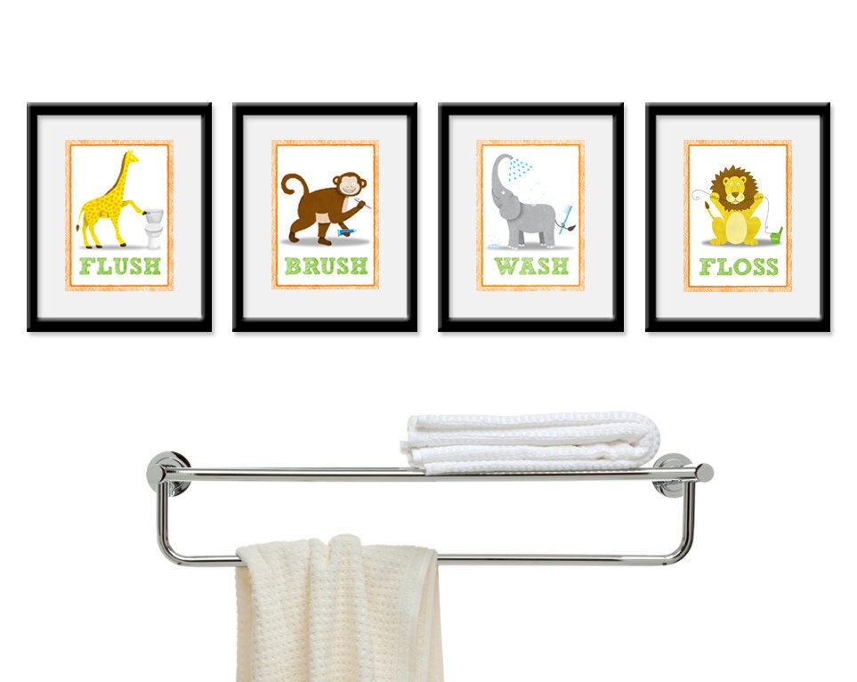 Kids bathroom wall art four 8 x 10 bathroom jungle safari for Bathroom decor etsy