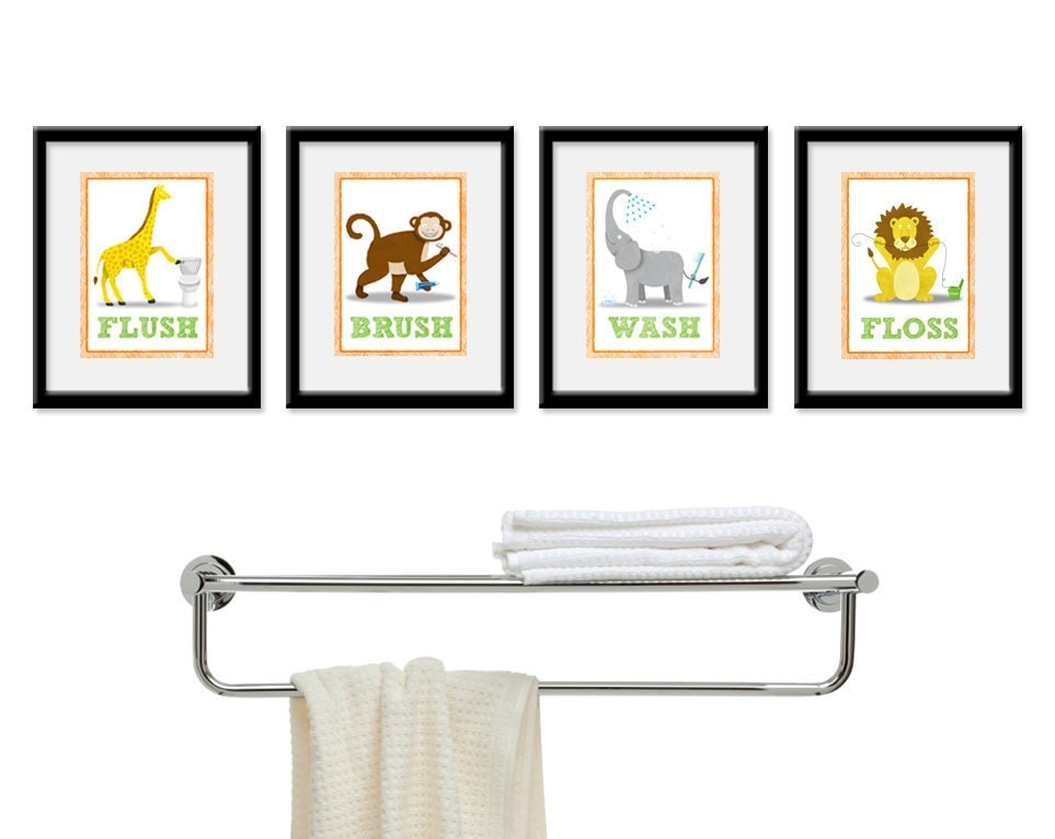 Kids bathroom wall art four 8 x 10 bathroom jungle safari for Bathroom wall decor images