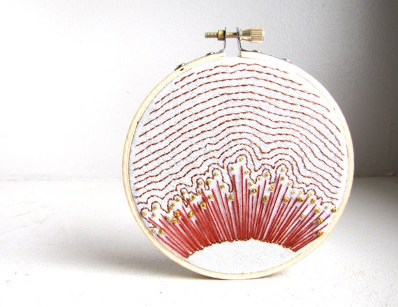 MADE TO ORDER Anemone Ripples 2 - Hand Embroidery Wall Art - Tawny, Mustard, and Rufous