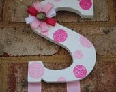 Baby Girl Pink and Brown Hand Painted Initial Hair Bow Holder - Girls Room Decoration - Baby Girl Wooden Letter Bow Holder