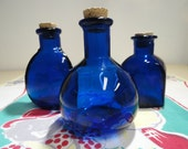 Three Cobalt Blue Bottles, Bead Containers, Seed Bottles, Craft Supplies