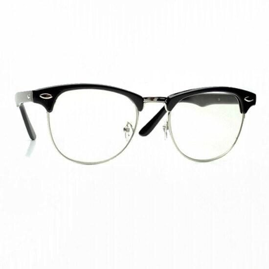 Black Half Frame Glasses : Vintage Half Frame Black Wayfarer