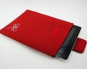 iPad, Playbook or Xoom Sleeve - 100% Merino wool - Cherry with Swarovski Crystals- Portrait