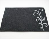 "Mac Air 11"" or 13"" Sleeve - Charcoal with Gray Swirl  - 100% Merino Wool - Landscape"
