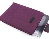 iPad, Playbook or Xoom Sleeve - 100% Merino wool - Eggplant - Portrait