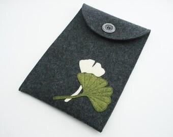 Kindle, Nook, Kobo or Galaxy Casewith Gingko Leaves - 100% Merino wool - Charcoal