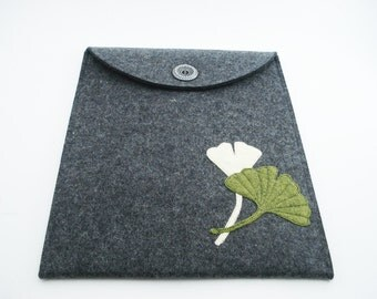 iPad, Playbook or Xoom Case with Gingko Leaves - Charcoal - Portrait