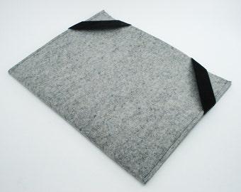 iPad, Playbook or Xoom Sleeve - Gray - 100% Merino Wool - Landscape with Swiss Velvet Elastics