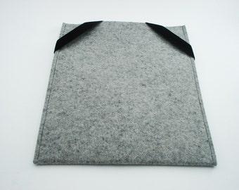 iPad, Playbook or Xoom Sleeve - Gray - 100% Merino Wool - Portrait with Swiss Velvet elastics
