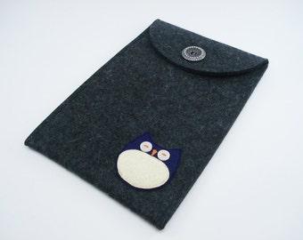 Kindle, Nook, Kobo or Galaxy Case with Purple Owl - 100% Merino Wool - Charcoal