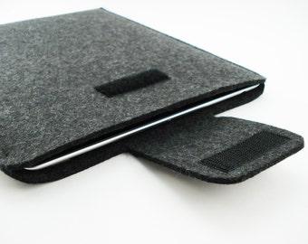 Mac Air 11 or 13 Sleeve - 100% Merino wool - Charcoal - Portrait