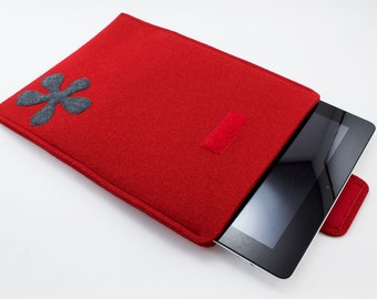 iPad, Playbook or Xoom Sleeve - 100% Merino wool - Cherry with color flower of choice - Portrait