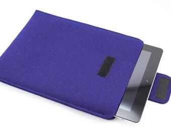 iPad, Playbook or Xoom Sleeve - 100% Merino wool - Blue - Portrait