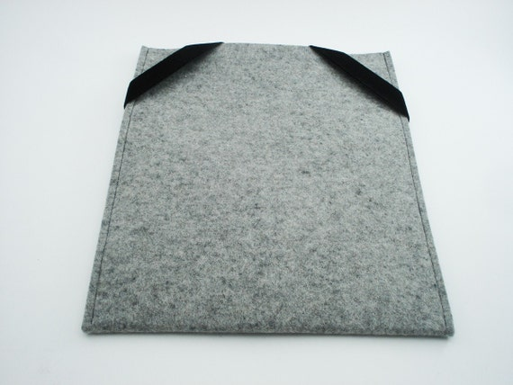 iPad, Playbook or Xoom Sleeve - Gray - 100% Merino Wool - Portrait with Swiss Velvet elastics